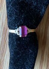 Yellow Gold Ring Oval Pink Stone Child's Ring Pinkie Size 3.5