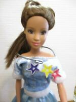 Barbie doll BLUE DRESS long brown hair New High Heels no flaws 2005