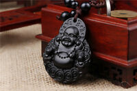 Black Wood Carving Chinese Happy Buddha Coin Statue Sculpture Pendant Key Chain