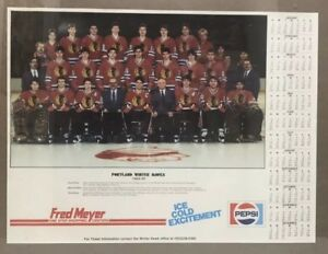 Vtg Portland Winter Hawks Hockey Team Calendar Roster Poster 1984-85 Fred Meyer