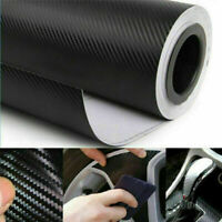 "11.81""x 60"" Black 3D Top Carbon Fiber Vinyl Car DIY Wrap Roll Film Sticker Decal"