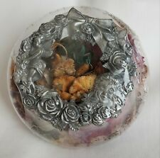 Vintage Potpourri Clear Glass Round Bowl with Pewter Wreath of Roses & Angels