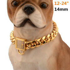 """12-24"""" 14mm Stainless Steel Curb Chain Pet Dog Choker Collar Rottweiler Pit"""