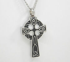 Celtic Cross Cremation Urn Necklace, Silver and Black in 316L Stainless Steel