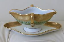 ANTIQUE H&C SELB BAVARIA GERMANY HEINRICH &CO GOLD GILDED GRAVY SAUCE BOAT