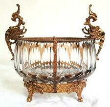 Vtge Bronze Mounted Dragon Handles Cut Crystal Center Piece Bowl Beautiful