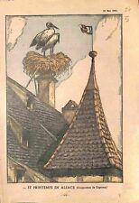 Alsace Elsass avec Toit Nid Cigognes Dessin de Gignoux 1935 ILLUSTRATION