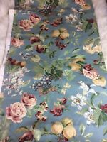 Vtg Barkcloth Fruit Flowers Blue Red 3 2/3 Yards NOS Nostalgic 1990 Repro