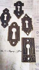 Keyhole Charms Pendants Connectors Antiqued Bronze Steampunk Key Holes 5 piece