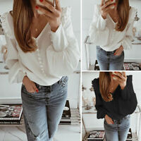 Summer Women Ruffle Frill V Neck Puff Sleeve Ladies Solid Loose Blouse Shirt Top