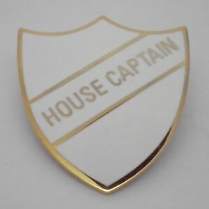 House Captain Enamel School Shield Badge - White