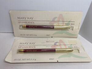 Mary Kay Lip Liner Lip Pencil Regal Red #0907 .05 oz Lot of 2 Wood Pencils