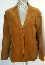 Ladies Velvet Twill Blazer UK 14 Camel Tan Single Breast Notch Collar 70s Hippie