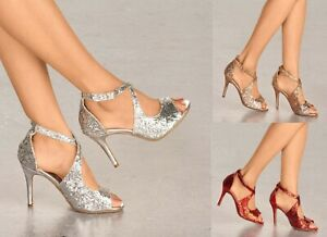 LADIES SPARKLY GLITTER HIGH HEEL STRAPPY SANDALS SHOES EVENING PARTY SIZES 3-8