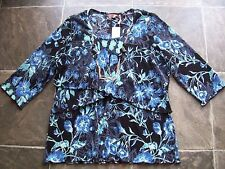BNWT Women's Black, Blue & White Crinkle Polyester Layered Top Size 20