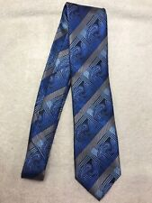 "Stacy Adams Blue Geometric Paisley Mens Classic Tie 59"" Long 4"" Wide 100% Silk"