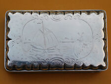 Large Antique Dutch Silver Tobacco Box Case Engraved Harbor Scene Signed GS