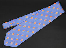 DUNHILL Silk Tie Flkaming Orange pattern on blue backing Lovely condition
