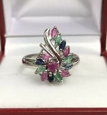 Solid .925 Silver Cluster Flower Ring, Natural Emerald Sapphire Ruby. Sz 7.75