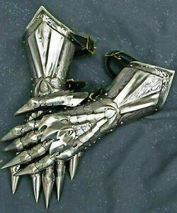 Medieval gauntlet gloves pair brass accents knight crusader armor steel gloves