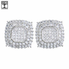 Men's Bling Sterling Silver Micro Pave Octagon CZ Screw Back Earrings SHS 474 S