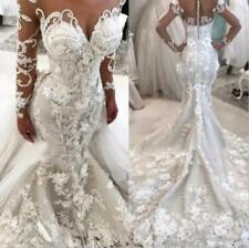 Luxury New Mermaid Wedding Dress Removable train Floral Lace Bridal Custom Size