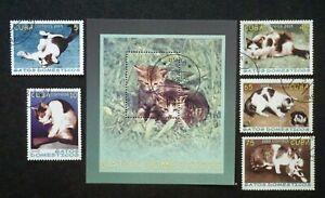 4CUBA Sc# 4472-4477  DOMESTIC CATS  Cpl set of 5 + Souvenir Sheet  2005 used cto