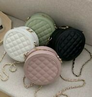 New fashion small round quilted crossbody  handbag purse black pink white green
