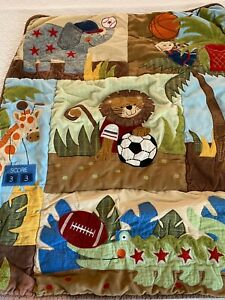"VINTAGE Animals Playing Sports Crib QUILT 32"" x 40"" #127"