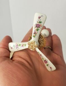 VTG Artisan Ceiling Fan Floral Pattern 1:12 Dollhouse Miniature Wood Lamp NOS