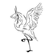 DANCING CRANE unmounted rubber stamp, Sandhill mating dance, bird, spring #9