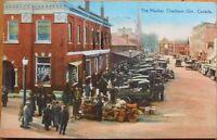1928 Postcard: The Market - Chatham, Ontario, Canada