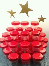 36 Tiny Little Small Plastic Jars RED Screw Lid Caps Container Decojars 3803 USA