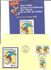 ENVELOPPE 1er JOUR TINTIN OBLITERE JOURNEE DU TIMBRE 2000 + AFFICHE PUBLICITAIRE