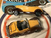 Vintage Zee Toys Ford Roadster Diecast - Mint Sealed Unpunched Card Lot of 2