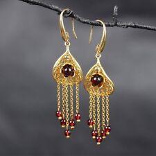 Women Earrings fashion jewelry Red Garnet 18K gold plating Long Tassel FREE GIFT