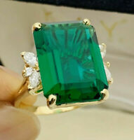 Estate 15Cts Emerald & 0.50Cts Diamond Wedding 14K Yellow Gold Over Ladies Ring