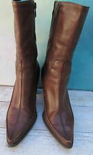 DIBA Brown Leather Urban Chic Mid-Calf Pointed Toe Heeled Boots Wms 7.5M