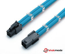 4 Pin 30cm Light Blue ATX CPU Mobo Sleeved Extension Shakmods + 2 Cable Combs