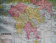 GREECE TURKEY BULGARIA ROMANIA & THE BALKANS MAP 1894 CRAM'S ATLAS PAGE VINTAGE
