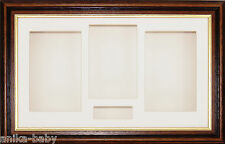 Large Mahogany Gold Trim 3D Shadow Box Display Frame Cream Mount Objects Casts