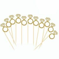 50 Pack Cupcake Toppers Gold Glitter Mini Diamond Ring Cakes Toppers for Ma T8V3