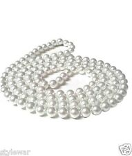 LONG FAUX PEARL ROPE BEAD NECKLACE 48 INCHES VINTAGE WEDDING BRIDE FANCY DRESS
