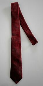 New Authentic GIVENCHY Black Red HOUNDSTOOTH Print 100% SILK SKINNY Neck Tie
