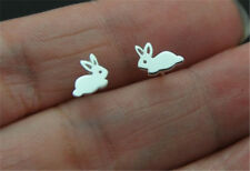 925 Silver Cute Tiny Rabbit/Bunny Charm Animal Stud Earrings Women Jewelry Gift