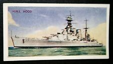 HMS HOOD    Royal Navy Battle Cruiser    Vintage Colour  Card  VGC