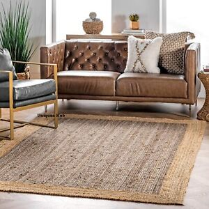 Rug Natural Braided Jute handmade rustic look area carpet rug home decor rag rug