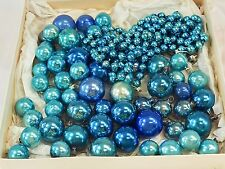 VINTAGE BLUE MERCURY GLASS BEAD GARLAND + 58 Ball Ornaments Lot JAPAN Christmas