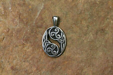 Pendant Triskele Twice Silver with Leather Strap Sterling Silver Amulet Small
