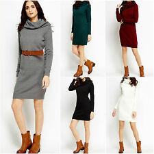 Womens New Knit Cowl Neck Midi Long Sleeve Casual Plain Office Jumper Dress 8-22